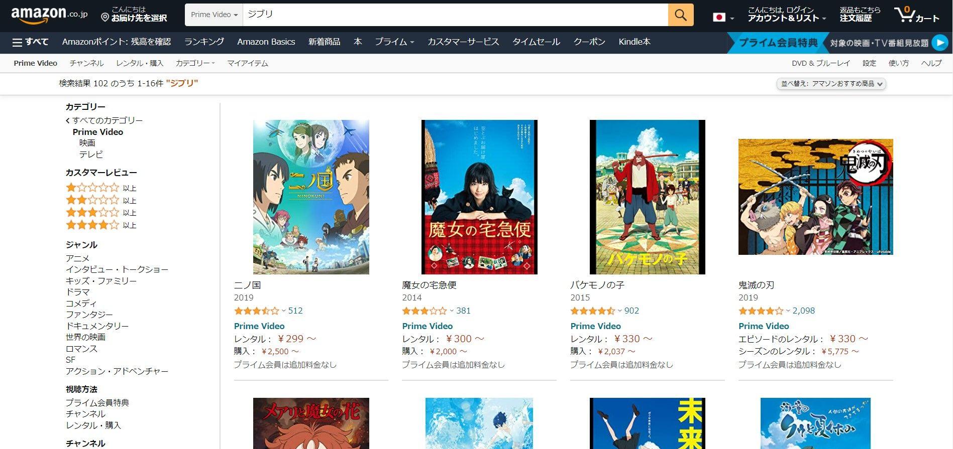 Amazon Prime Videoではジブリ作品が見れない